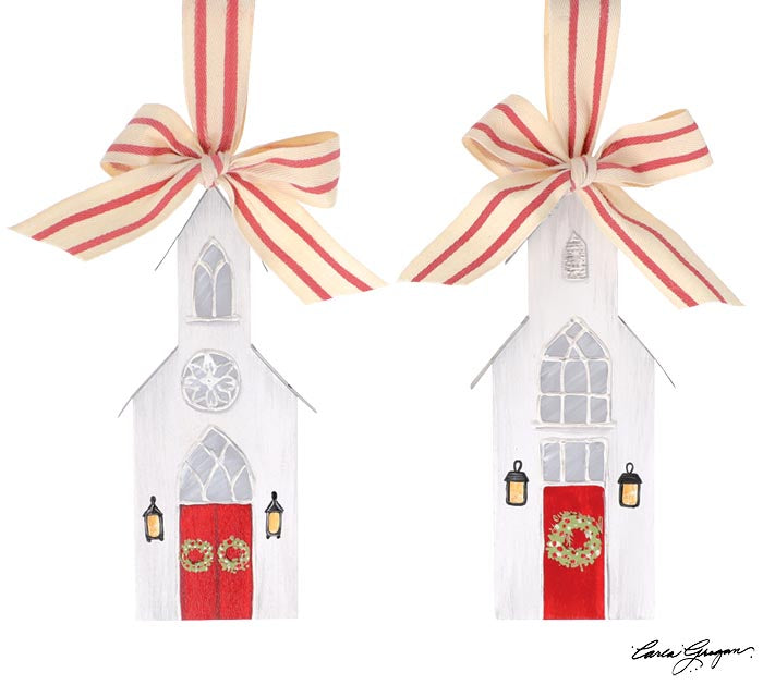 Small Painted Wood Church Ornament