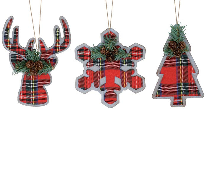 Tartain Plaid Christmas Ornament.  Sold Individually