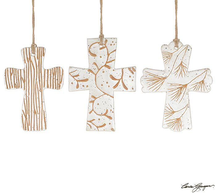 Tan & White Ceramic Cross Ornament