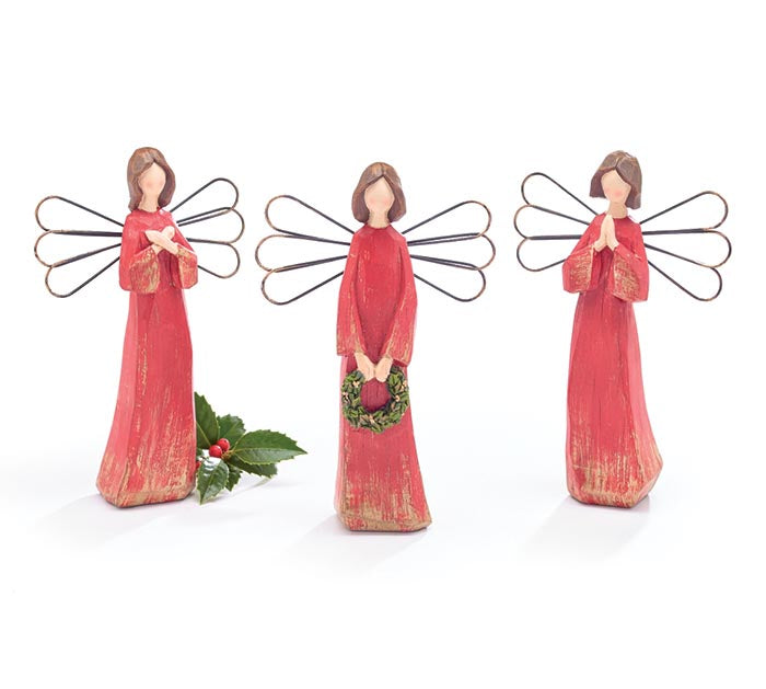 Red Angels with Wire Wings