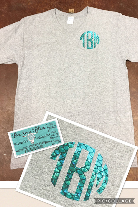 Mermaid Monogram on Short Sleeve V Neck Tee (Youth Sizes Not V Neck).