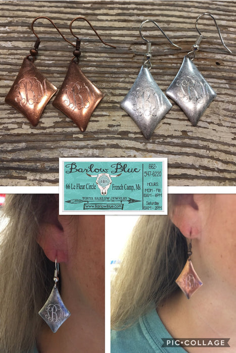 $4.99 SALE! Monogrammed Earrings. Diamond Shaped. Copper or Silver