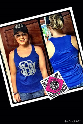 "Racerback Tank Top with 8"" Front Monogram"