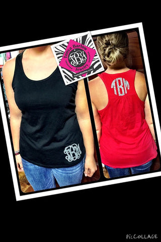 "Racerback Tank Top with 4"" 3 INITIAL Monogram"