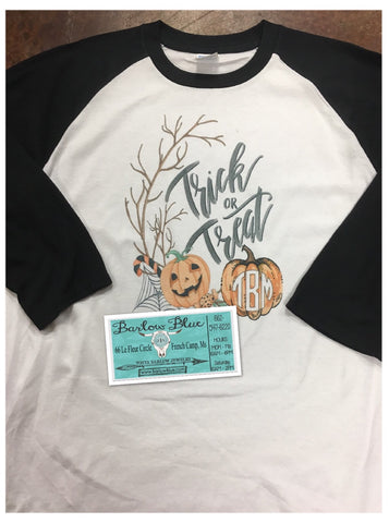 Trick or Treat Raglan with Optional Monogram on Pumpkin