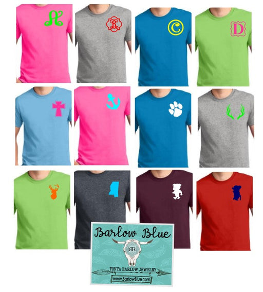 $8 Short Sleeve Tees with One Initial or Small Design! Plus sizes extra.
