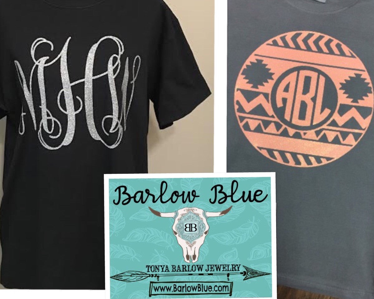 Large Monogram on Front of Short Sleeve Tee Shirt Adult Sizes (Pigment Dyed Comfort Tee)