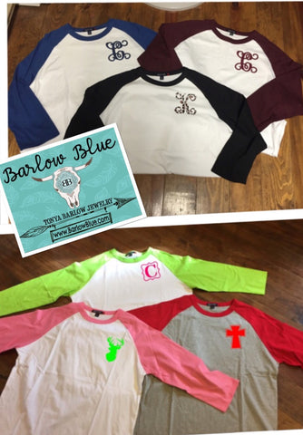 Raglan Shirt with ONE INITIAL or Small Design Adult Sizes