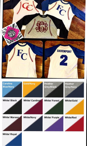 Baseball / Softball Raglan Tee Personalized FRONT & BACK - YOUTH Sizes