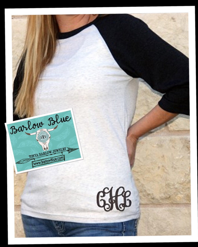 Raglan Shirt with Small LOWER HIP MONOGRAM Adult Sizes