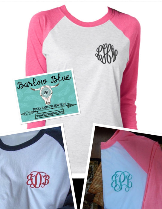 Raglan Shirt with Small FRONT POCKET MONOGRAM Adult Sizes