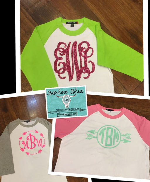 Raglan Shirt with Large Monogram Adult Sizes