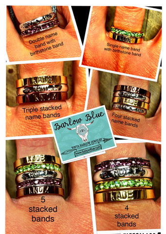 Stacking Rings with Stamped Names or Dates cjs