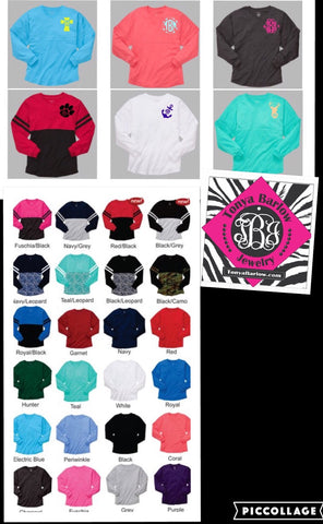 Over Sized Spirit Jersey Long Sleeve Tees. BLANK BACK.  Front Monogram 3 INITIALS!  Youth & Adult