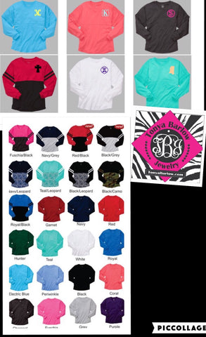 SALE! Over Sized Spirit Jersey Long Sleeve Tees. BLANK BACK.  ONE INITIAL MONOGRAM ONLY!  Youth & Adult