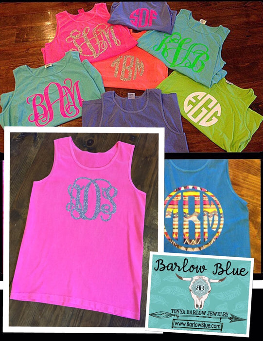 Tank Top with Large Monogram on the Front- Adult Sizes (Pigment Dyed Comfort Tee)