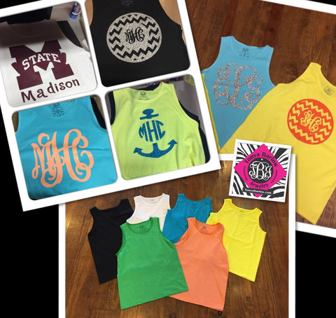 Tank Top with Large Monogram on the Front- YOUTH Sizes
