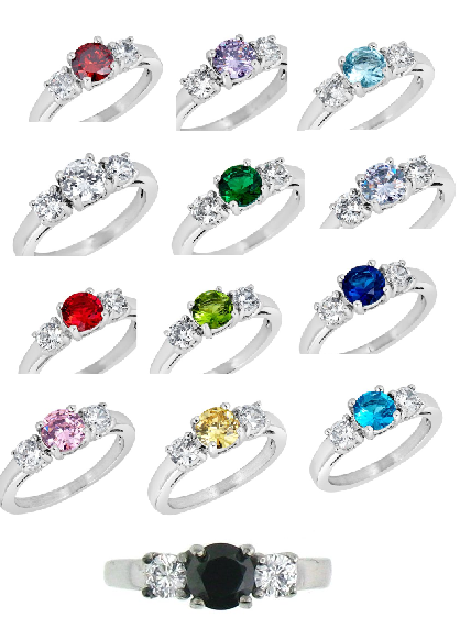 Birthstone Rings with Cubic Zirconia Accents