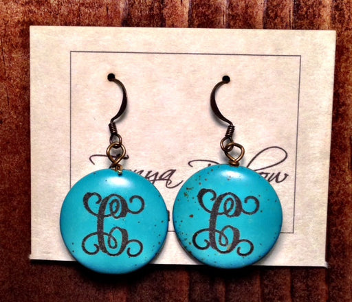 "(1"") Turquoise Stone Earrings with monogram"