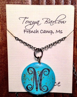 "1.5"" Round Turquoise Stone Pendant on Long Chain with Monogram"