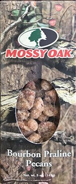 Mossy Oak Bourbon Praline Pecans.  5oz Box by Indianola Pecan House.