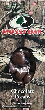 Mossy Oak Chocolate Pecans.  5oz Box by Indianola Pecan House.