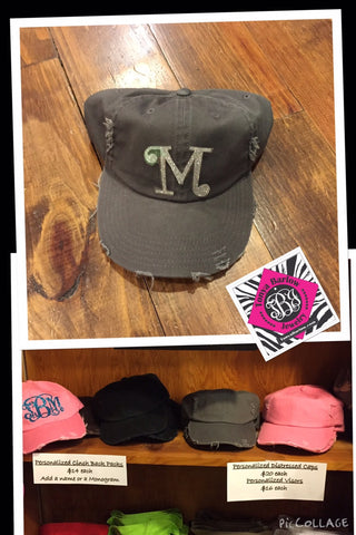 Monogrammed Distressed Baseball Cap with ONE Initial