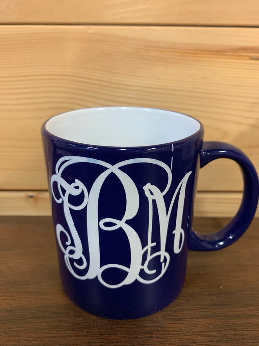 Personalized Coffee Cup.  Navy with white writing.  I can say anything you want it to say!