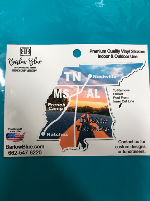 The Natchez Trace Parkway 3 State Decal