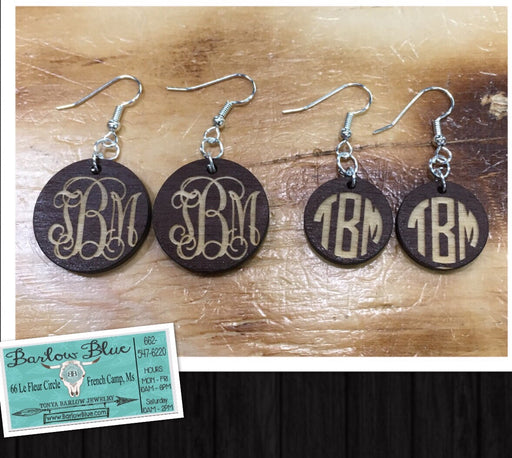 Monogrammed Wood Earrings