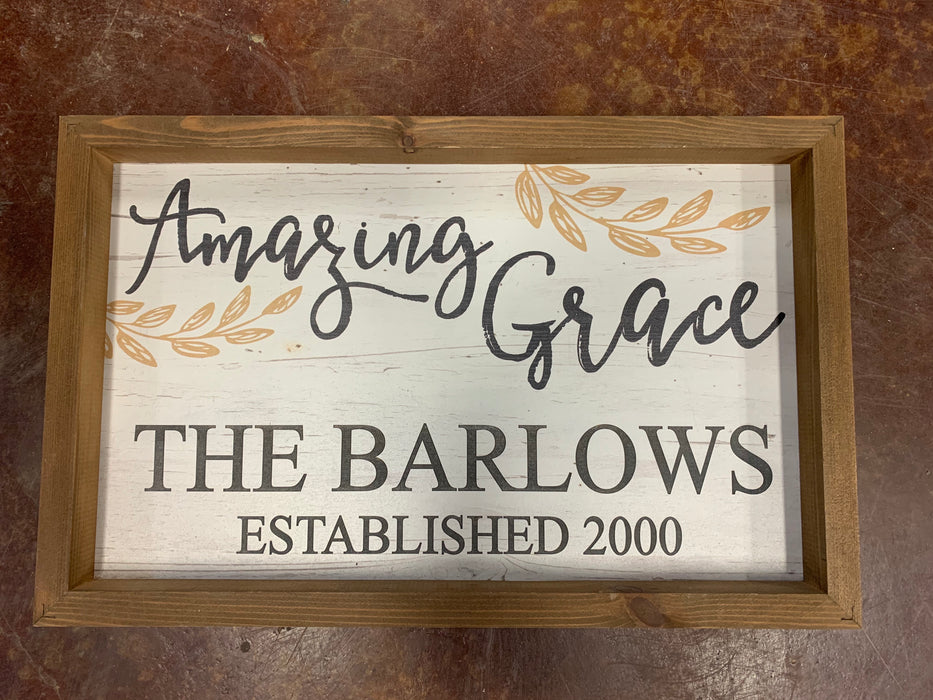 "Personalized Amazing Grace Sign.  11.5"" x 17.5"".  Wrapped & ready to gift!"