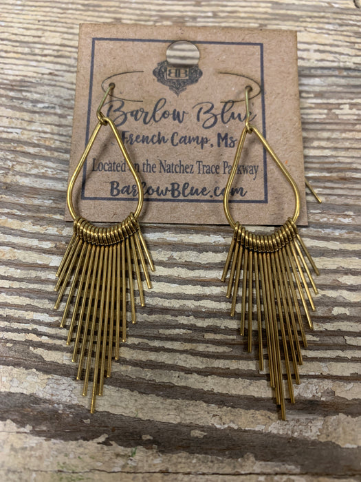 Gold Teardrops with Metal Tassels Earrings