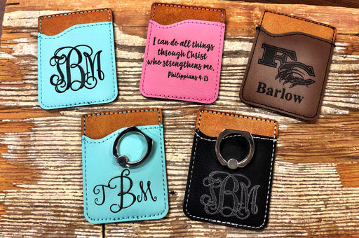 Personalized Leather Phone Pockets / Card Holders.  Can be customized any way you want.