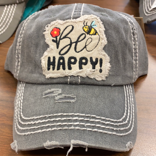 """Be Happy"" distressed  hat for ladies"