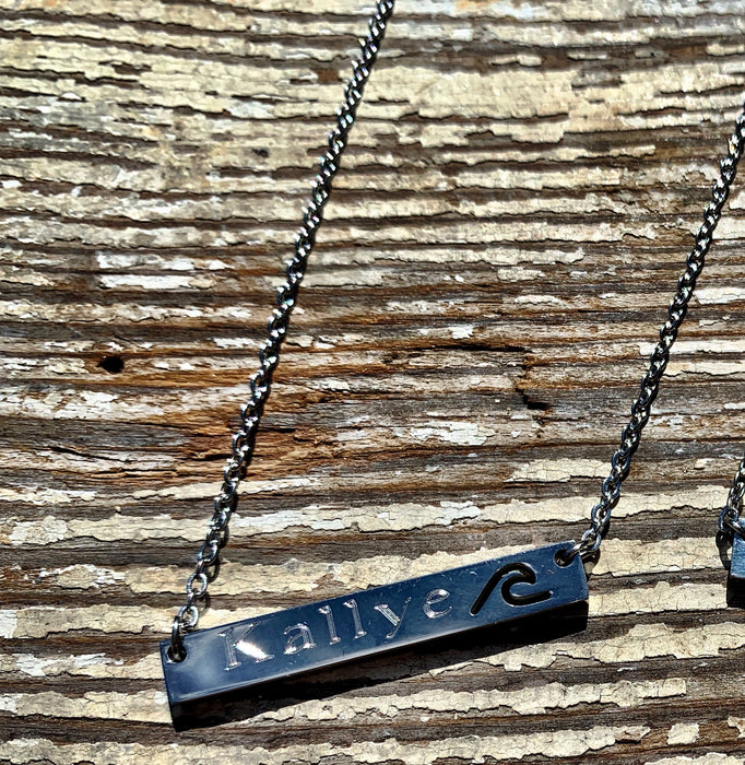 Silver Bar Necklace with a WAVE Cut Out.  Custom Name or Text Included.