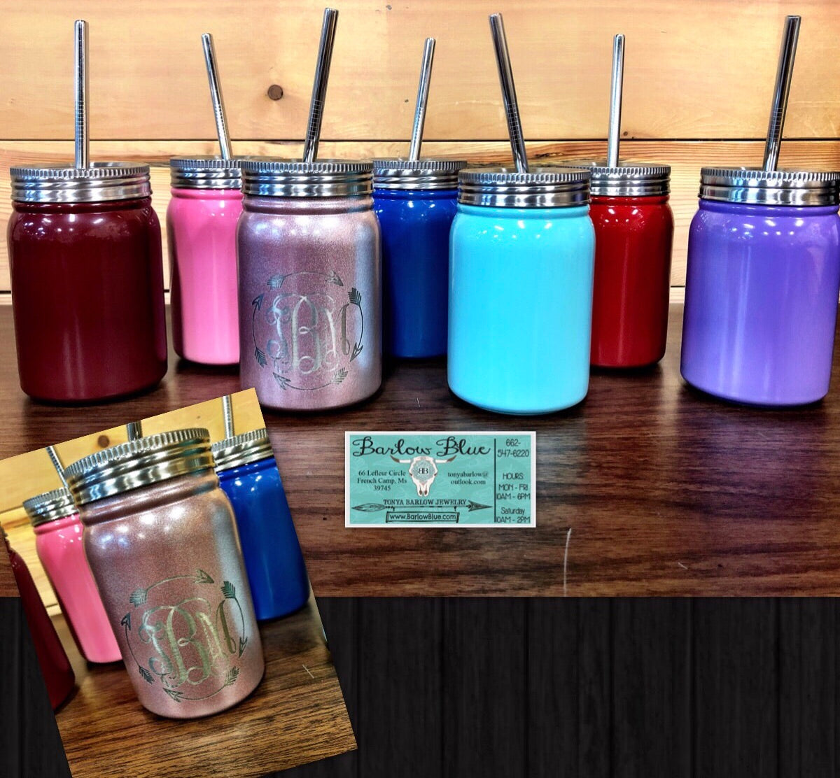 Laser Engraved Mason Jar with Straws.  16oz Stainless Steel Tumblers.  Permanent engraving.