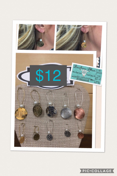 Monogrammed Earrings. Small or Large. Gold, Silver or Copper