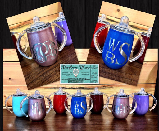 Laser Engraved Sippy Cups. 8oz powder coated stainless steel.  Perfect for Boys or Girls!  Permanent Engraving.
