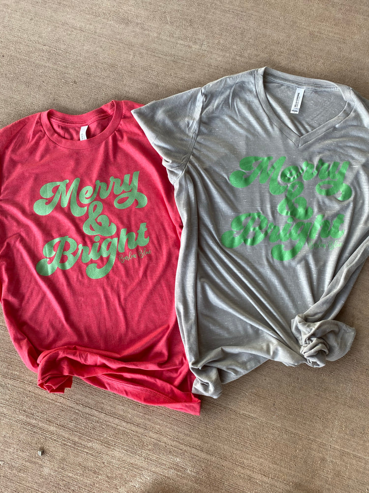 """Merry & Bright"" Graphic Tee.  Bella Canvas"