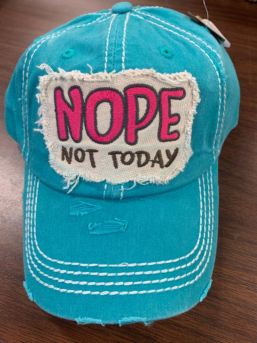 """Nope Not Today"" distressed  hat for ladies"