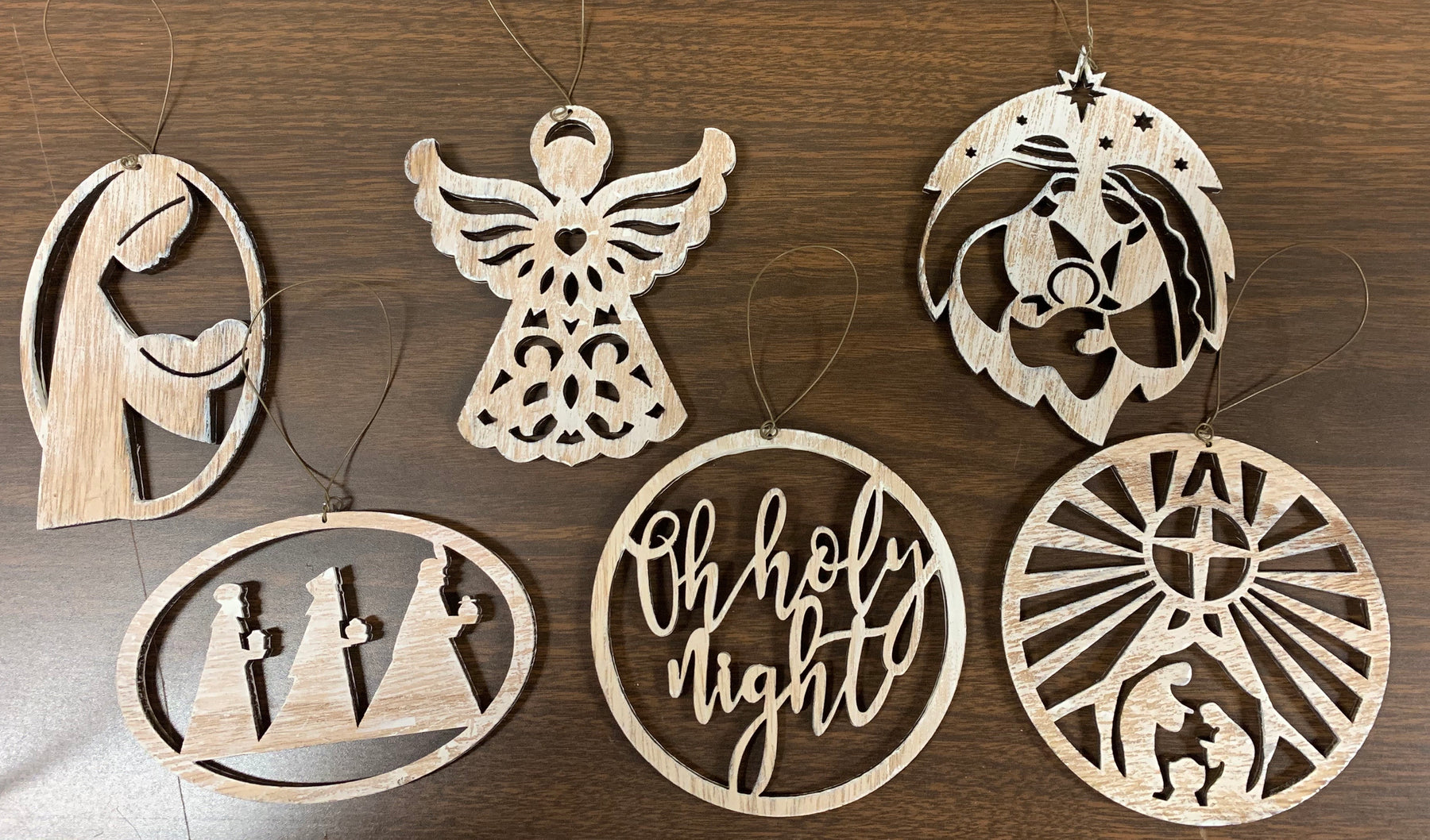 Wood Nativity Christmas Ornaments