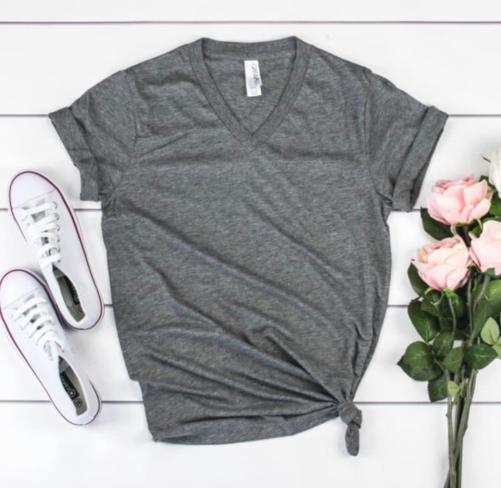 Triblend Bella Canvas V Neck Tee.  Unisex Fit. Blank Tee.