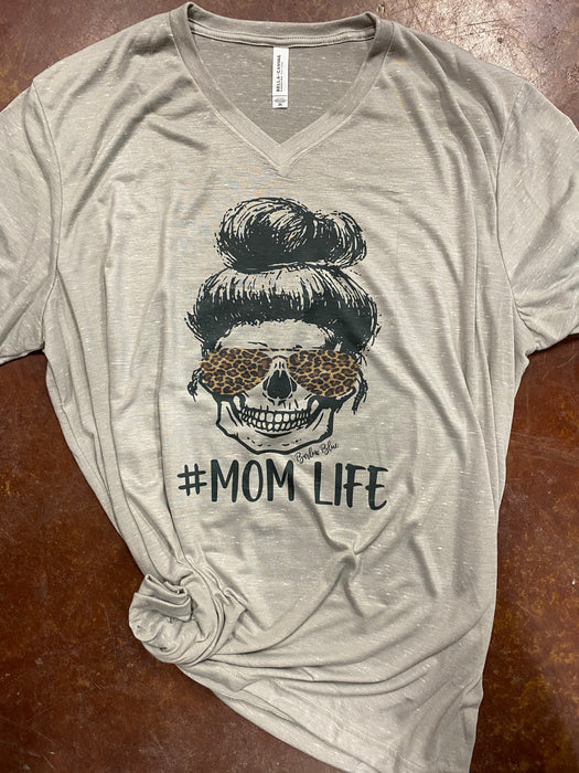 Mom Life tee.  Messy Bun, Leopard Print, Tired Mom