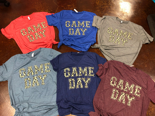 GAME DAY Leopard Print Graphic Tee on Bella Canvas  V Neck Tee.