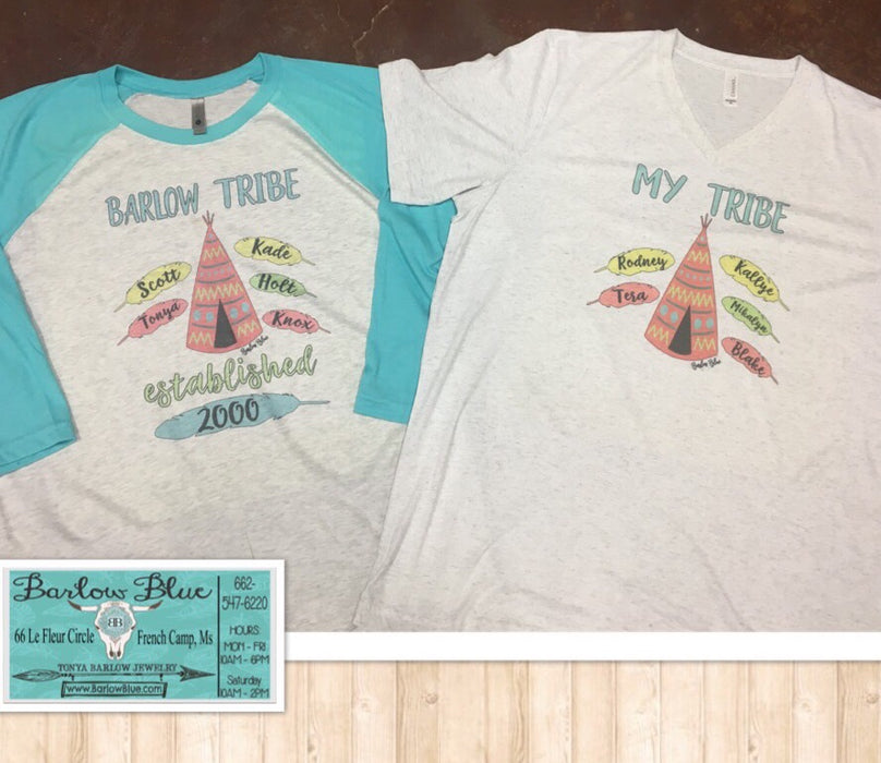 Tribe Shirts for Mom!  Can be customized with as many names as you want.  Perfect for Mother's Day!
