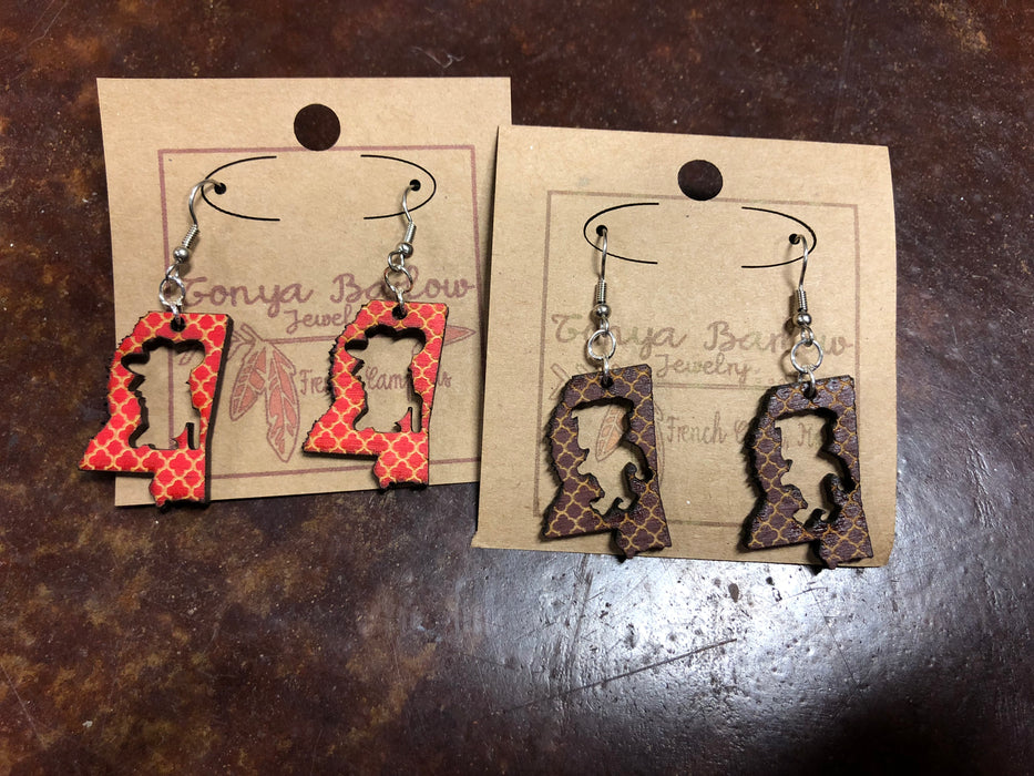 Mississippi Earrings with Rebel or Bulldog cutout