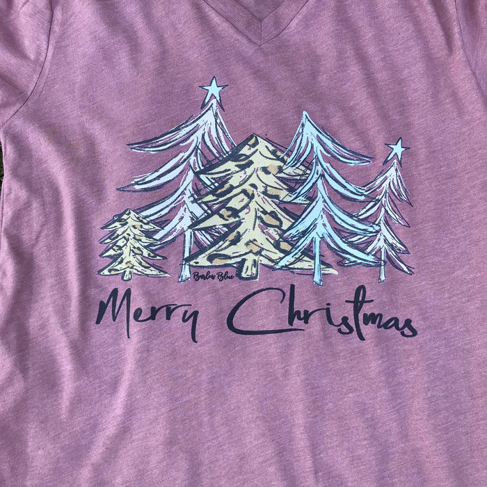 """Merry Christmas"" Leopard Trees Graphic Tee.  Bella Canvas"