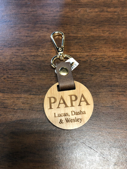 Wooden Medallion Keychain