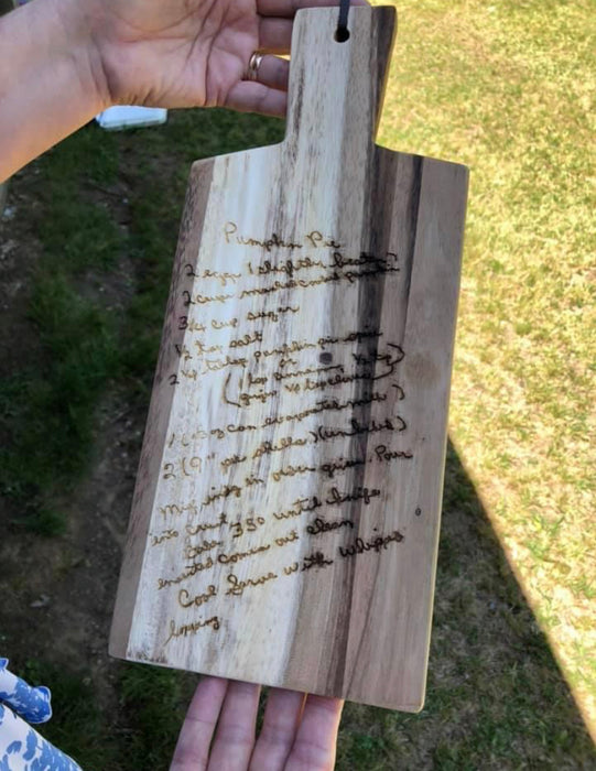 Personalized Cutting Board with Handle.  Simple personalization included.  We can engrave hand written recipe's on these for an additional fee.
