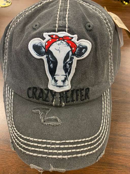 """ Crazy Heifer "" Cow distressed  hat for ladies"